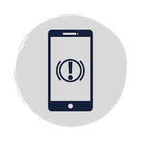Blue phone icon with alert icon in the middle