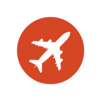A circular red icon of an airplane