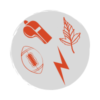 A red icon representing a custom policy spreadsheet with a football, leaf, lightning bolt, and whistle