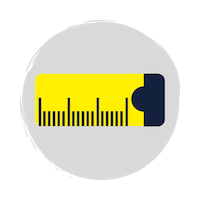 A blue and yellow tape measure icon