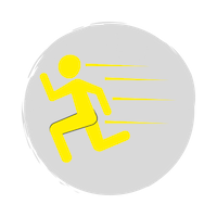 Man running with speed behind him yellow icon
