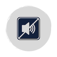 A blue icon of an horn making noise and a line through it to represent silence
