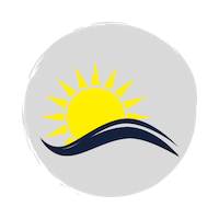 Heat wave icon, yellow sun with a blue wave on a grey circle background