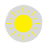 Yellow sun icon with rays over a grey circle background