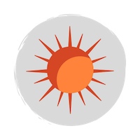 A red and orange sun icon on a grey circle background