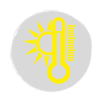 Yellow thermometer and sun icon on a grey background