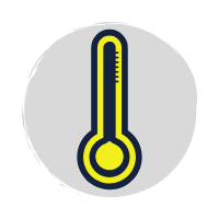 Blue and yellow thermometer icon on a grey background