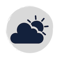 A blue cloud and sun weather icon on a grey circle background