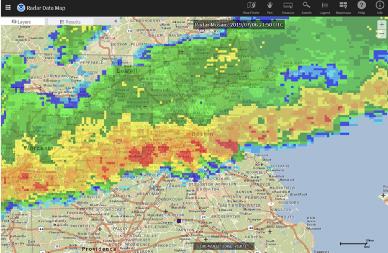 Radar composite of Boston storm in July 2019