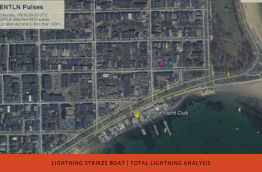 Lightning strikes boat at Boston Yacht Club title image showing Earth Networks Total Lightning Detection Network data