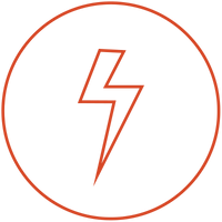 lightning bolt in a circle, red icon