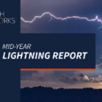 2019 Mid-Year Lightning Report title with lightning striking a landscape in the background