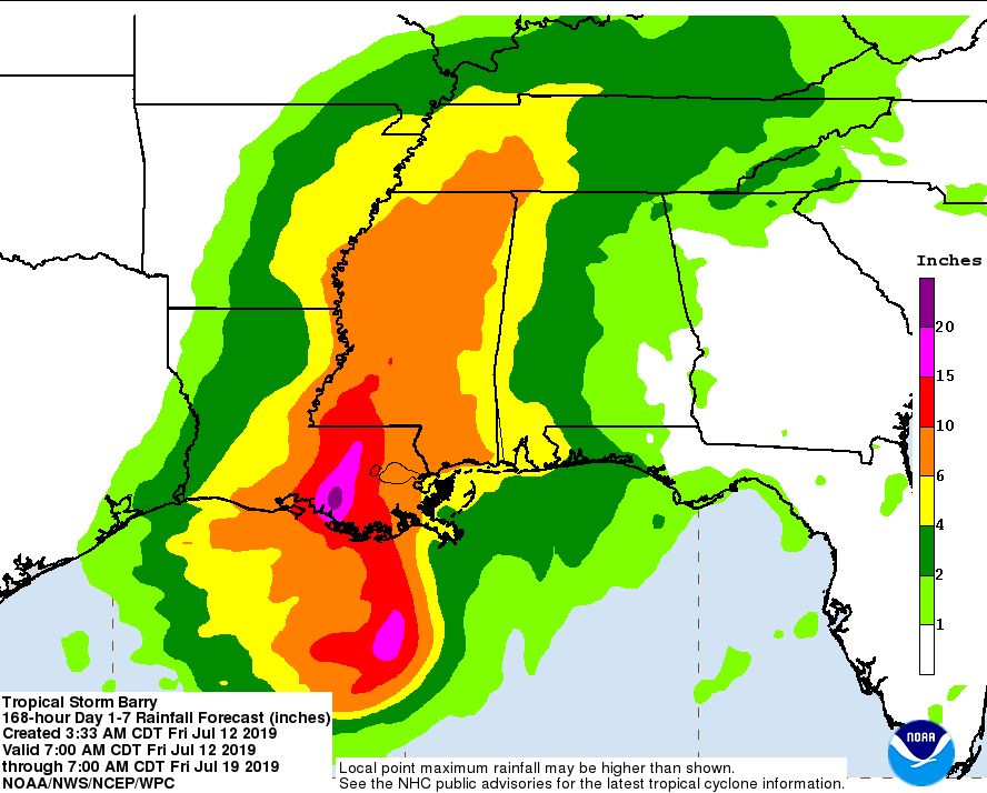 NOAA rainfall probability for Tropical Storm Barry