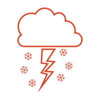 Thunderstorm with snow coming out red icon to represent thundersnow