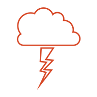 Red thundercloud and lightning icon