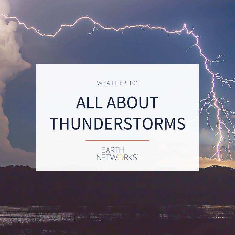 Weather 101 All About thunderstorms, thundercloud with lightning in the background