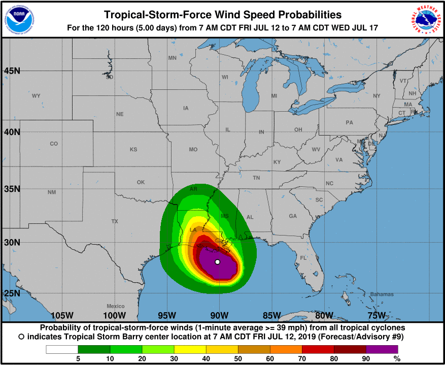 Tropical Storm Barry tropical storm force wind probability graphic from NOAA, NWS, and NHC