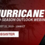 Stormy background with text promoting the 2019 Hurricane Mid-Season Outlook Webinar on August 22, 2019 - 10 AM ET