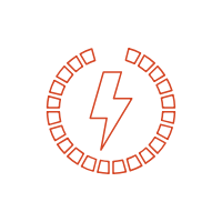 A white lightning bolt with red outline