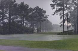 Lightning strike at a golf course during a big tunderstorm