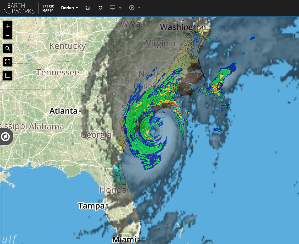 A view of live radar and satellite images of Hurricane Dorian on our hyperlocal weather map, Sferic Maps