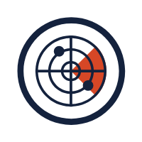 blue and red radar icon