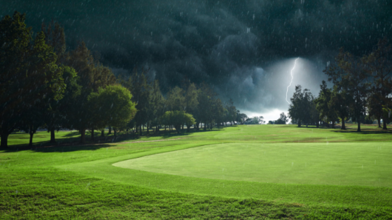 Dramatic scene of lightning strike at a golf course