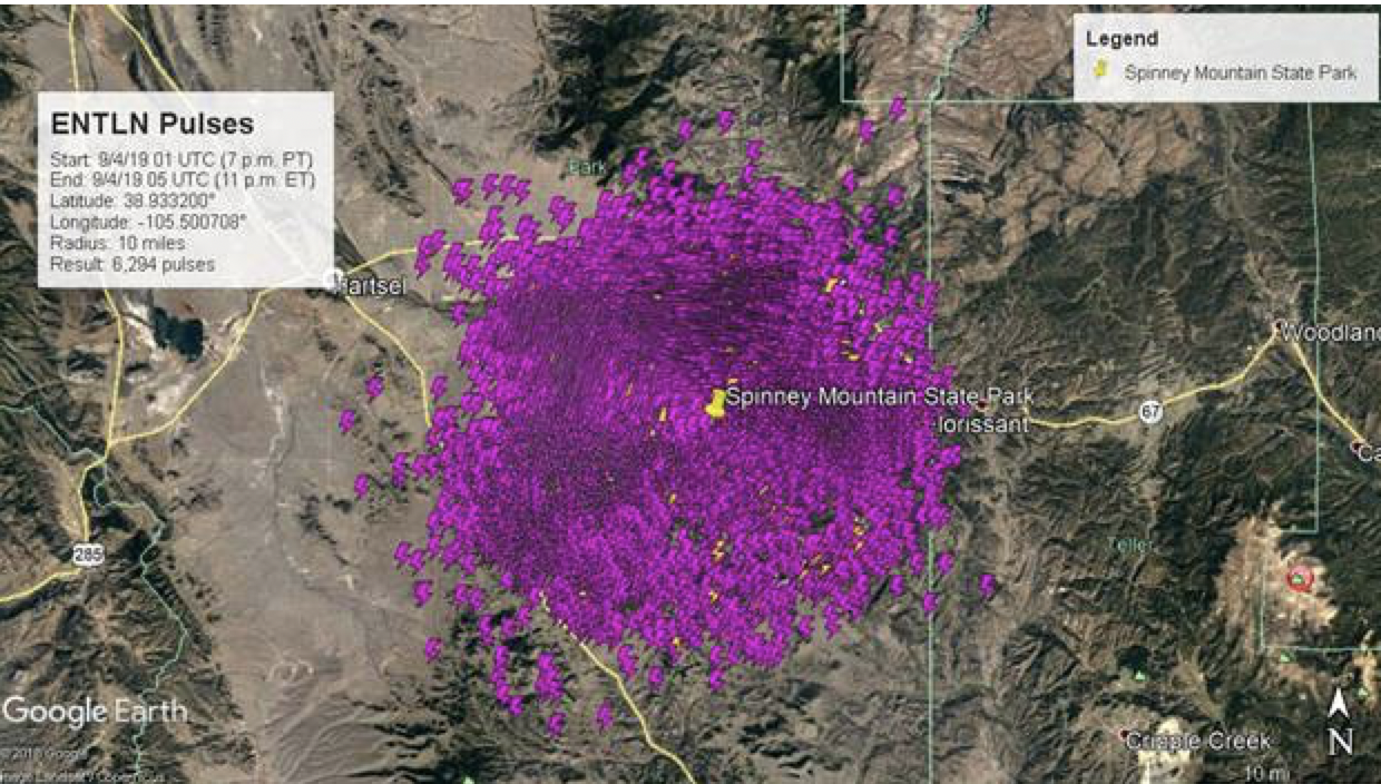 Total lightning detection around Spinney mountain State Park showing the 6,294 in-cloud and cloud-to-ground lightning strikes that occurred within a 10-mile radius from 7pm to 11pm local time on September 3, 2019. Detected by our real-time, hyperlocal lightning network.