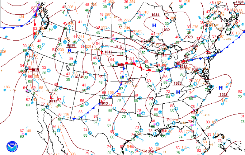 A surface weather observation map by the National Weather Service and National Oceanic and Atmospheric Administration