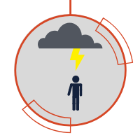 A direct lightning strike icon directly hitting a person