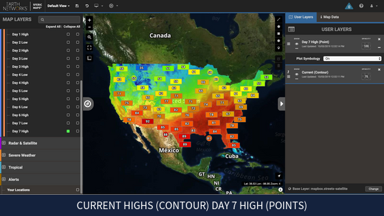 Real-time weather map highs