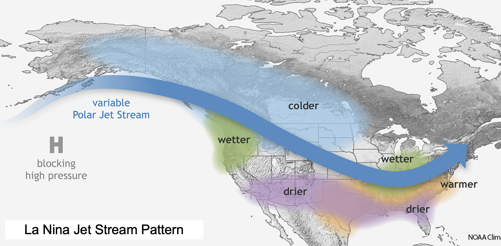 Map showing a la nina winter