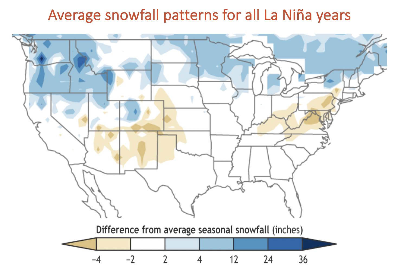 Average snowfall patterns for La Nina years