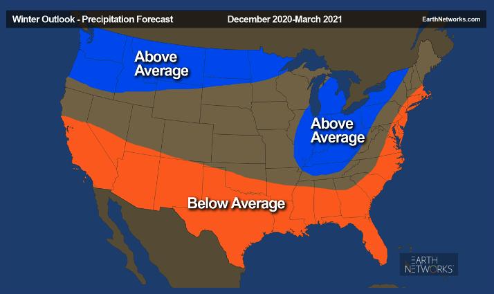 2020-21 Earth Networks Winter Outlook Precipitation Forecast