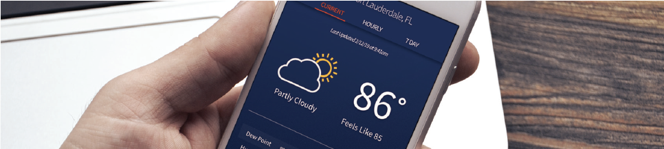 Sferic Connect weather application on a mobile phone showing current conditions