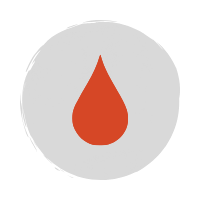 Red raindrop icon on a grey circle background