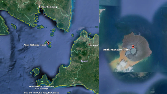 Google map images of Anak Krakatau