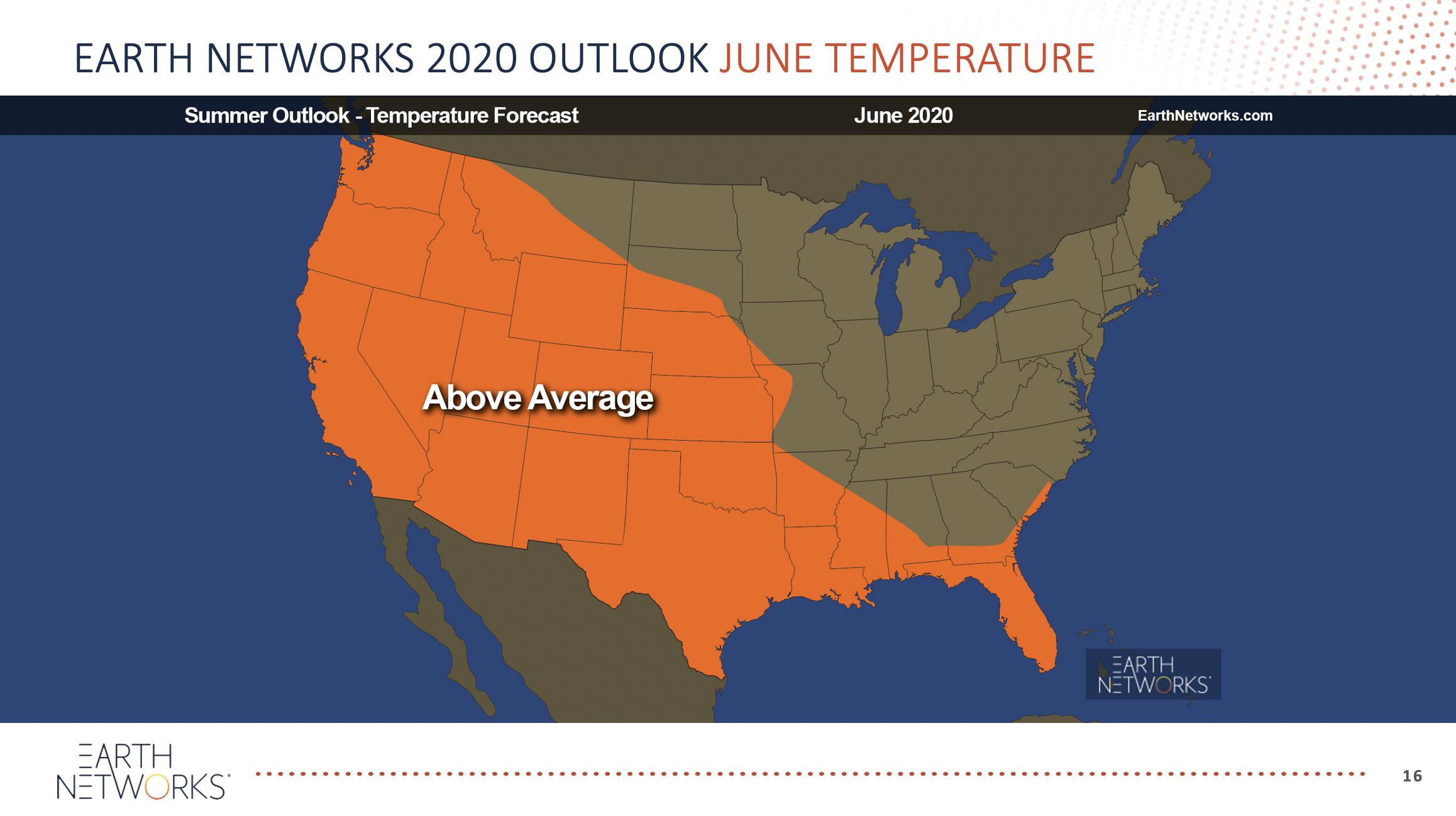 Above average temperatures for the 2020 summer outlook during the month of June