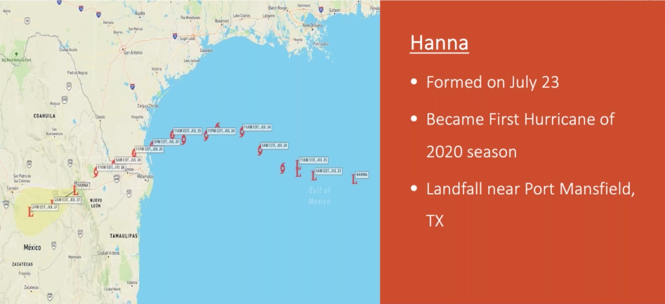 Hurricane Hanna information displayed on Sferic Maps