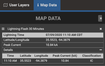 In-cloud lightning data for an individual strike including timing, location, and amp