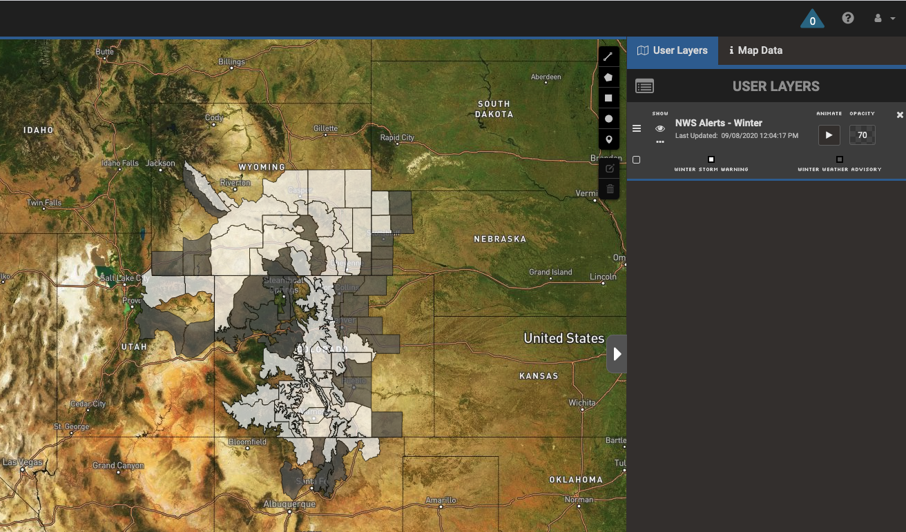 Winter storm warnings and advisories in the Rockies in Wyoming, Colorad, Utah, New Mexico, and Nebraska on September 8, 2020