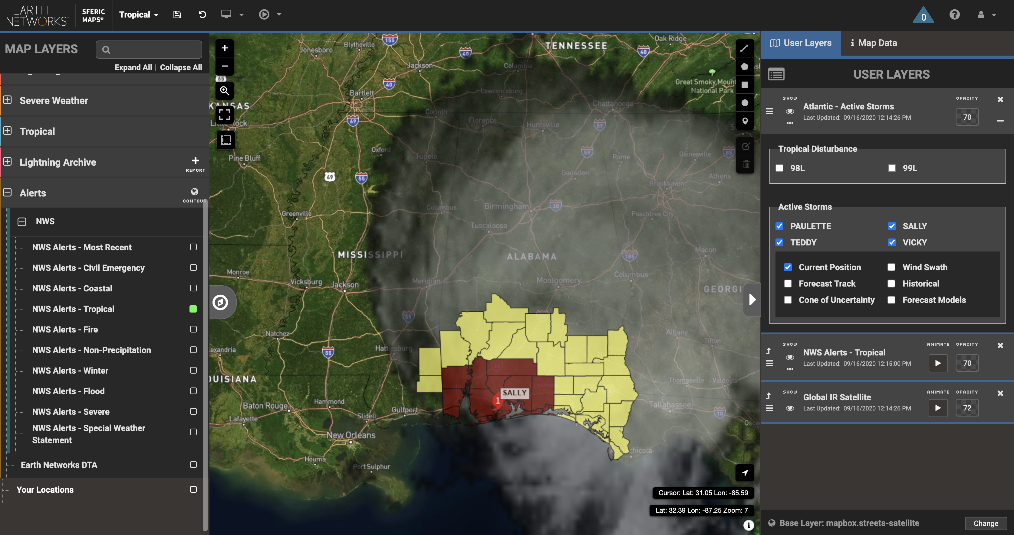 Hurricane Sally Watches and Warnings on September 16, 2020 visualized on Sferic Maps professional weather map