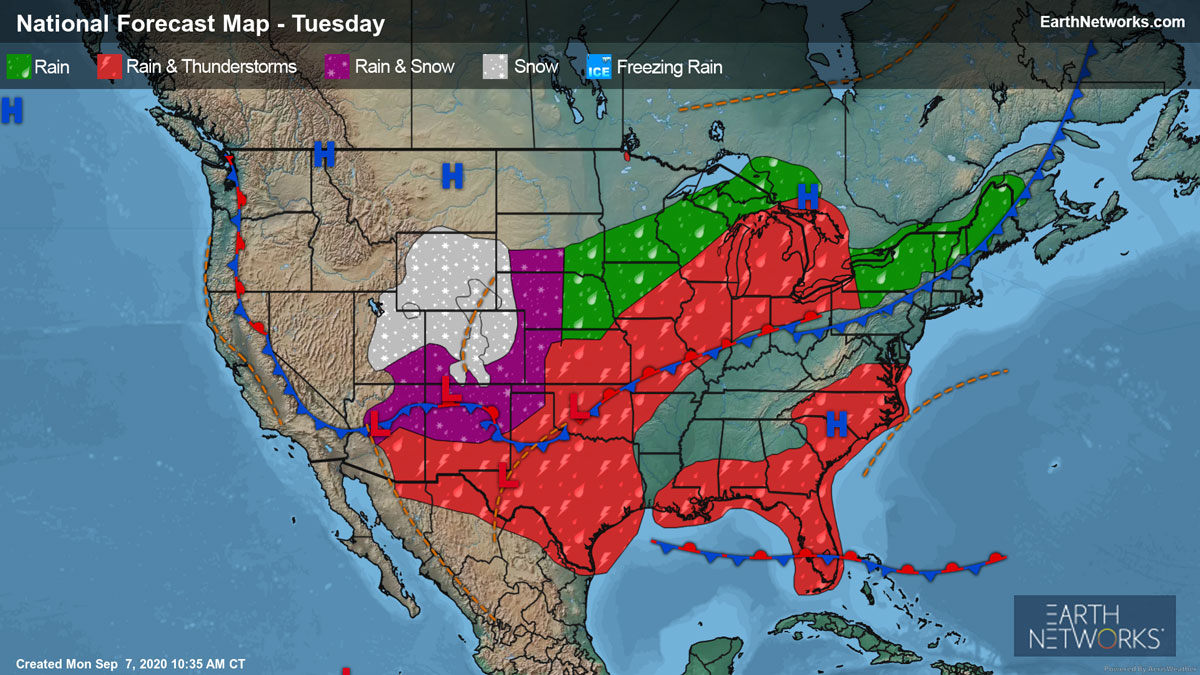 National Forecast Map for Tuesday, September 8 showing early season snow in the rockies