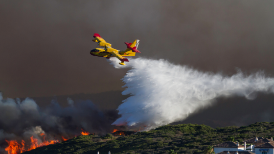 firefighter plane putting out a wildfire in a forest