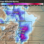 Snowfall forecast for the Wyoming and Colorado Rockies on Tuesday, September 8, 2020
