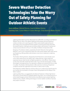 The title page of the Severe Weather Detection Technologies Take the Worry Out of Safety Planning for Outdoor Athletic Events whitepaper by Kevin Hoffman and Courtney Coon