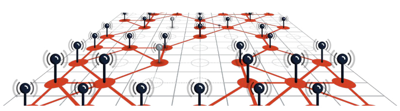 Connected points on a grid symbolizing Earth Networks' expansive weather and lightning networks
