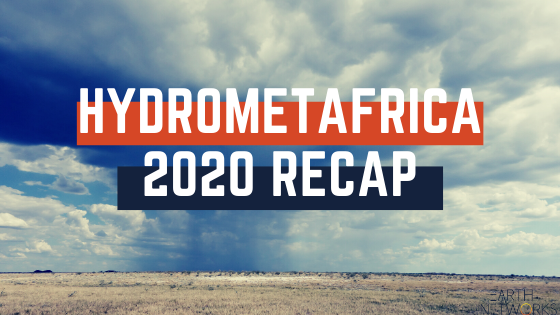 "Text that reads ""HydrometAFRICA 2020 RECAP"" with a stormy desert in the background"