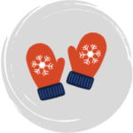 cartoon mittens with snowflakes on them