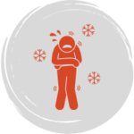 Cartoon man shivering with snowflakes around him to show that he is extremely cold